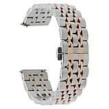 Ремінець BeWatch classic сталевий Link для Samsung Galaxy Watch 46 мм   Galaxy Watch 3 45 mm Срібло-Рожеве, фото 3