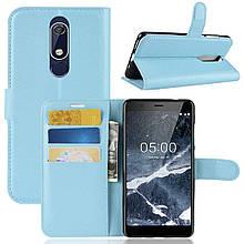 Чехол-книжка Litchie Wallet для Nokia 5.1 Голубой (hub_dTIt03884)