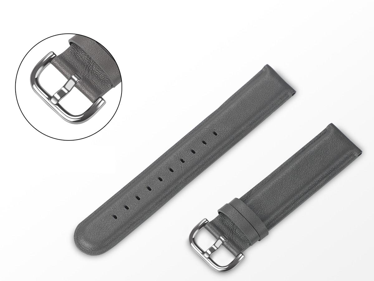 Ремешок BeWatch кожаный 20мм для Amazfit BIP | Bip Lite | GTS | Gtr 42mm Серый L (1220104.1L)