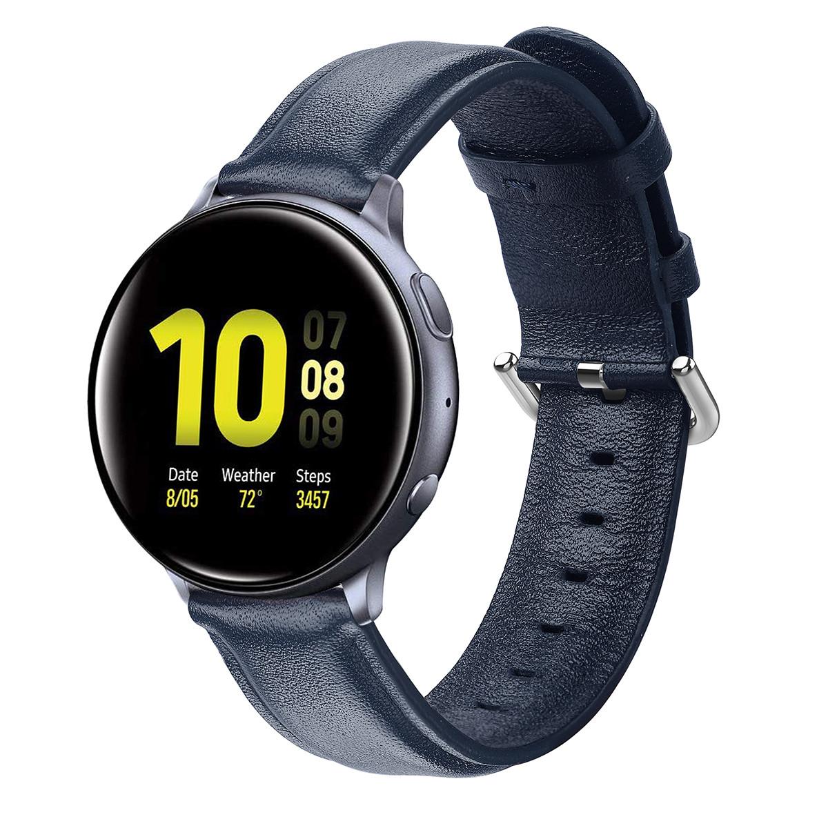 Ремінець BeWatch шкіряний 20мм для Samsung Active| Active 2 | Galaxy watch 42mm Синій L (1210189.L)