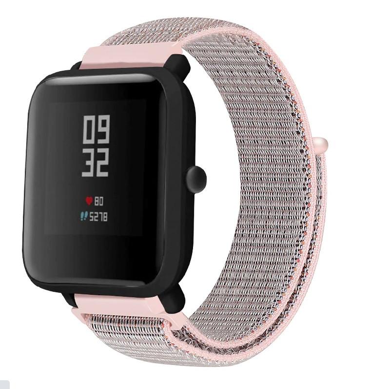 Ремінець BeWatch для Xiaomi Amazfit BIP| Lite | GTS | GTR 42mm нейлоновий 20мм липучка Рожевий (1011338)