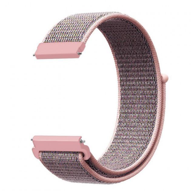 Ремінець BeWatch 20мм нейлоновий липучка універсальний для смарт годин Рожевий (1011338)