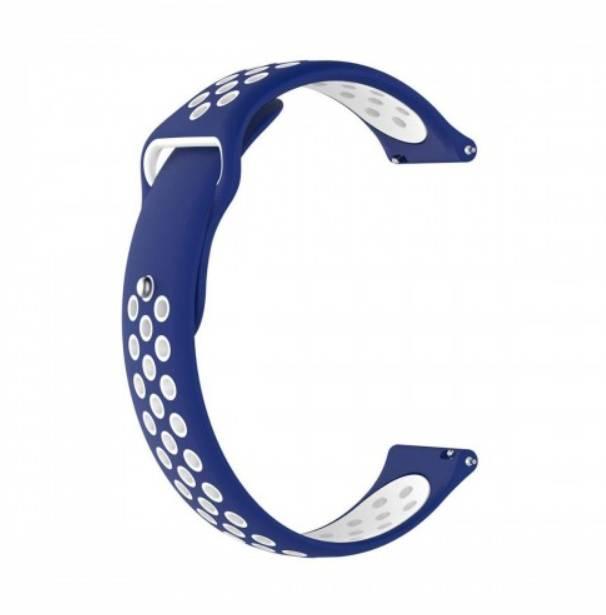 Ремешок силиконовый BeWatch 22мм для смарт часов перфорированный универсальный Сине-белый (1020152)