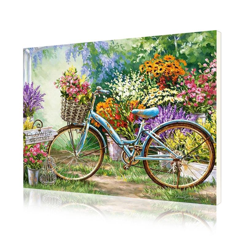 """Картина за номерами Lesko PH-9403 """"Велосипед в саду"""" 40-50см (4771-14651)"""