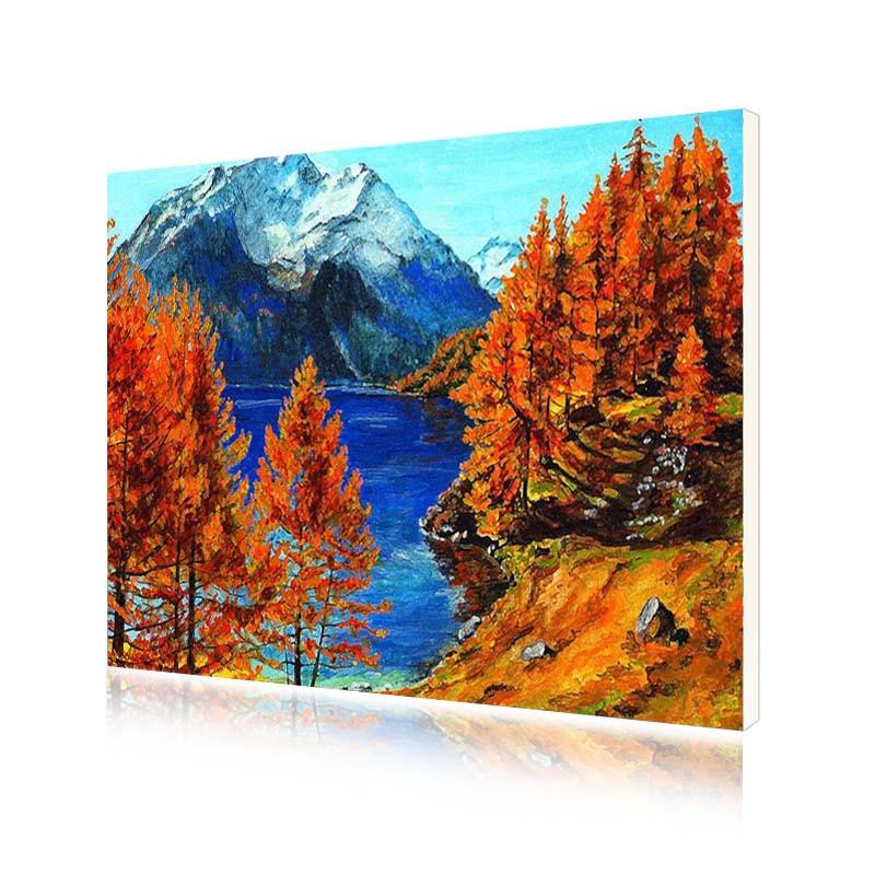 Картина за номерами Lesko Y-5568 «Осінь на гірському озері» 40-50см (4771-14669)