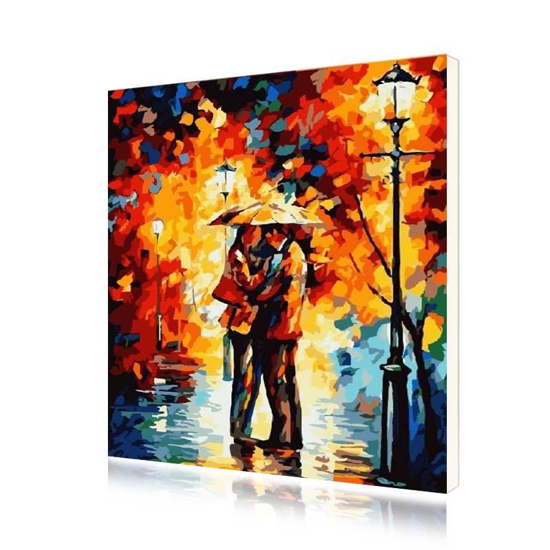 """Картина за номерами Lesko E-121 """"Поцілунок під дощем"""" 40-50 см (4771-14643)"""