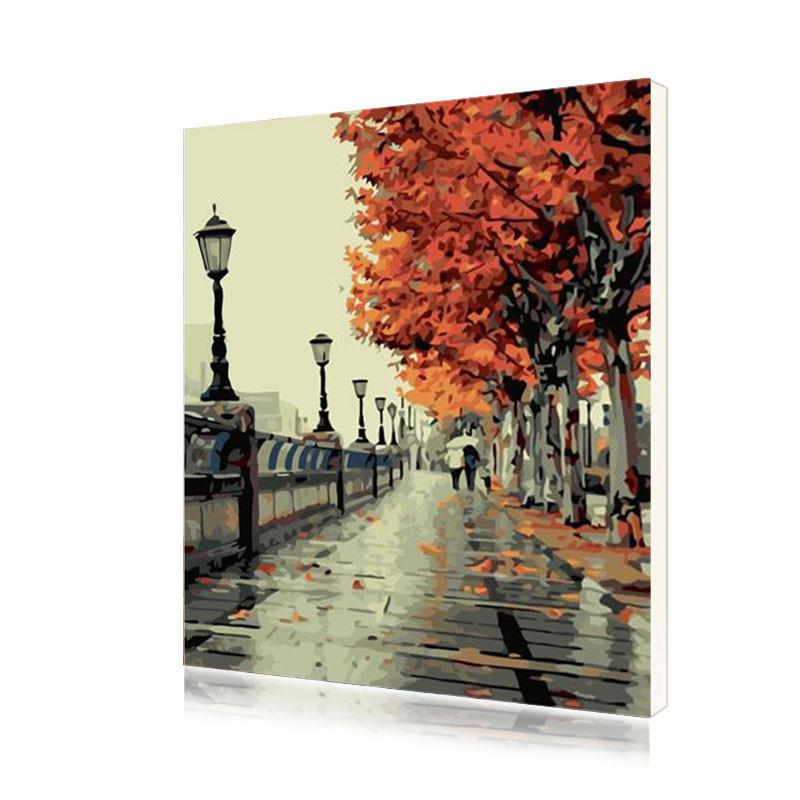 "Картина по номерам Lesko E-299 40-50 см ""Осенняя прогулка"" (4771-14645)"