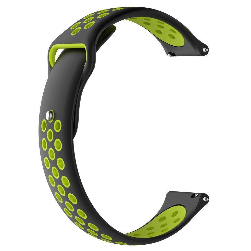 Ремешок 20мм BeWatch sport-style для Samsung Active| Active 2 | Galaxy watch 42mm Черно-Салатовый (1010116)