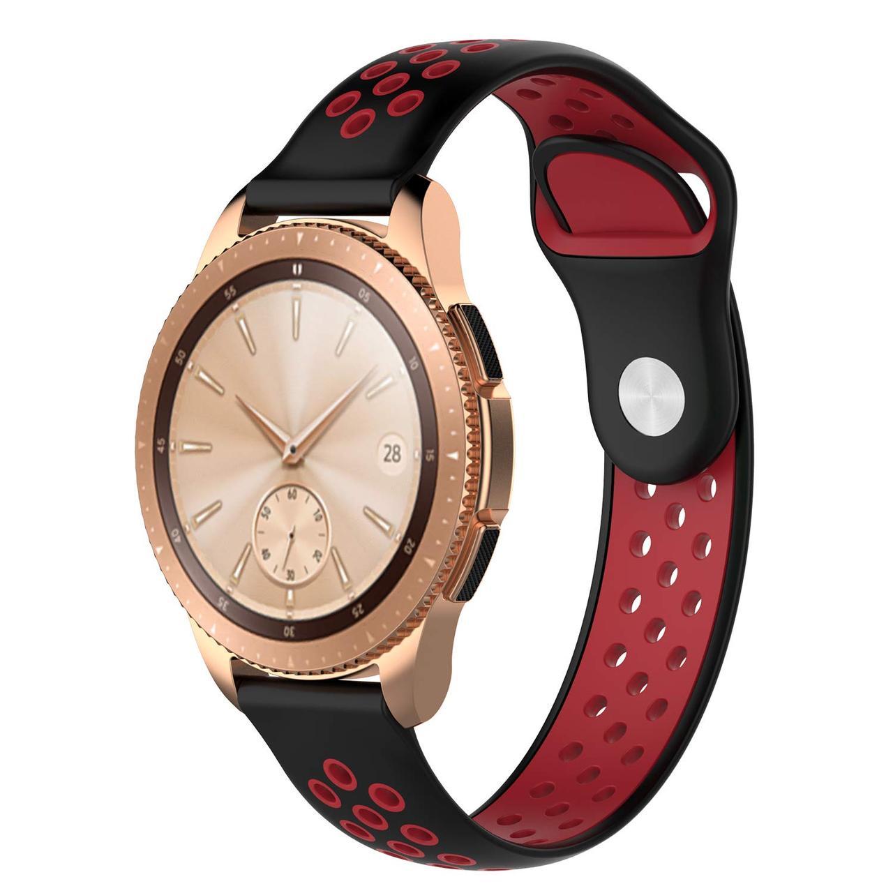 Ремешок 20мм BeWatch sport-style для Samsung Active| Active 2 | Galaxy watch 42mm Черно-Красный (1010113)