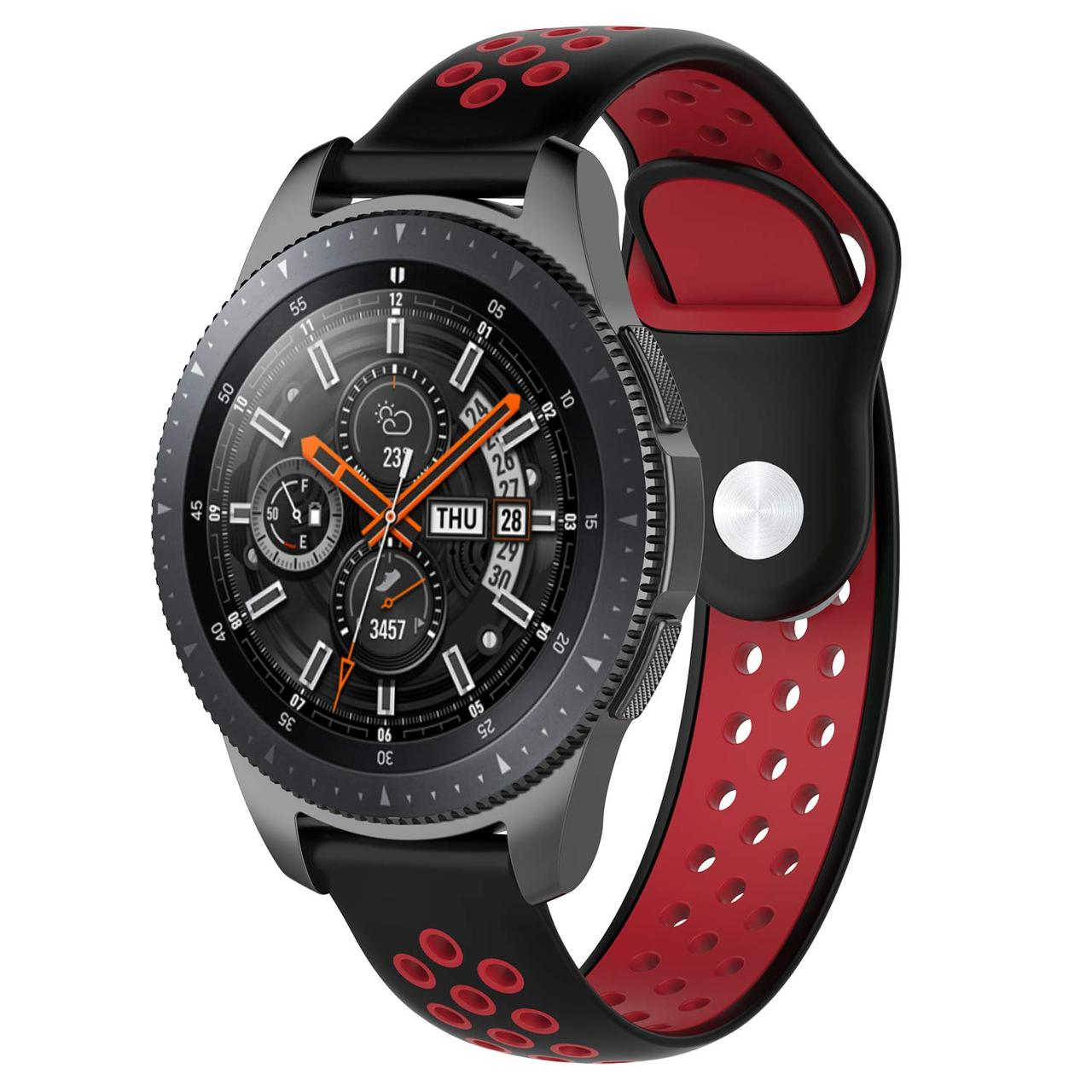 Ремінець 22мм BeWatch sport-style для Samsung Galaxy Watch 46 мм   Samsung Gear S3 Чорно-Червоний (1020113)