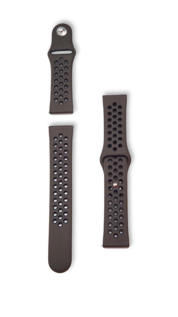 Ремінець BeWatch 22мм для Amazfit Stratos | Pace | GTR 47mm перфорований силіконовий Хакі (1020191)