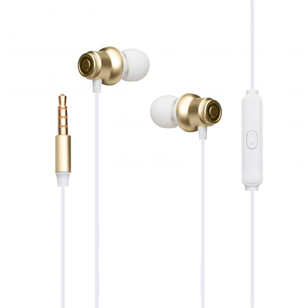Вакуумні навушники Celebrat D5 гарнітура для телефону Біло-Золотий