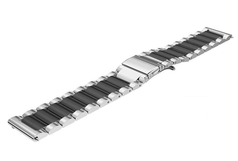 Ремешок стальной BeWatch 22 мм Duo для Amazfit Pase/Stratos 3/GTR 47 mm Silver Black (1025411)
