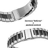 Ремешок стальной BeWatch 22 мм Duo для Amazfit Pase/Stratos 3/GTR 47 mm Silver Black (1025411), фото 2