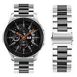 Ремешок BeWatch стальной 22 мм Duo для Samsung Galaxy Watch 46 mm/Gear 3 Silver Black (1025411), фото 2