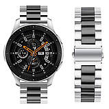 Ремінець BeWatch сталевий 22 мм Duo для Samsung Galaxy Watch 46 mm/Gear 3 Silver Black (1025411), фото 2