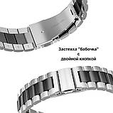 Ремінець BeWatch сталевий 22 мм Duo для Samsung Galaxy Watch 46 mm/Gear 3 Silver Black (1025411), фото 3