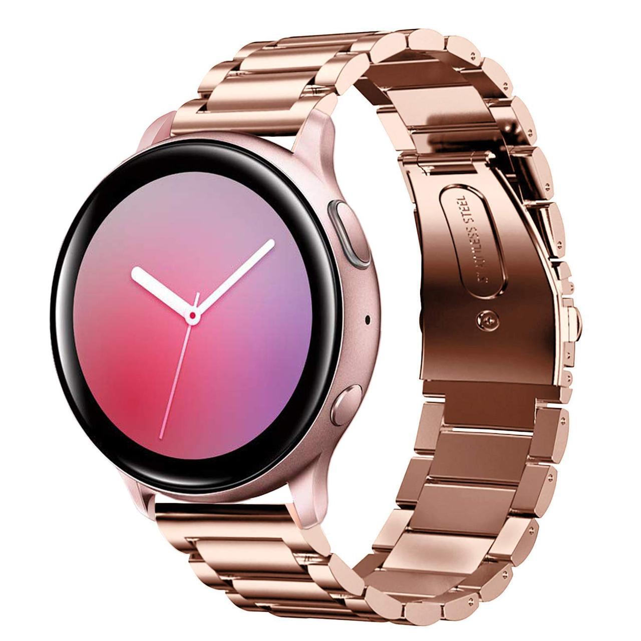 Ремінець сталевий BeWatch 20 мм для Samsung Galaxy Active/Active 2 40 mm Рожеве золото (1110438)