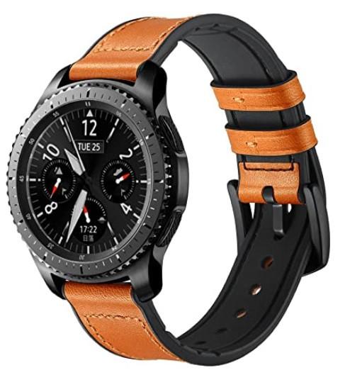 Ремешок BeWatch 22мм Силикон + Кожа для Samsung Galaxy Watch 46mm | 3 45mm | Gear S3 Коричневый (1230104)