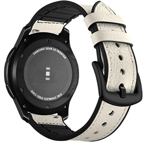 Ремінець BeWatch 22мм Силікон + Шкіра для смарт годин універсальний Білий (1230102)