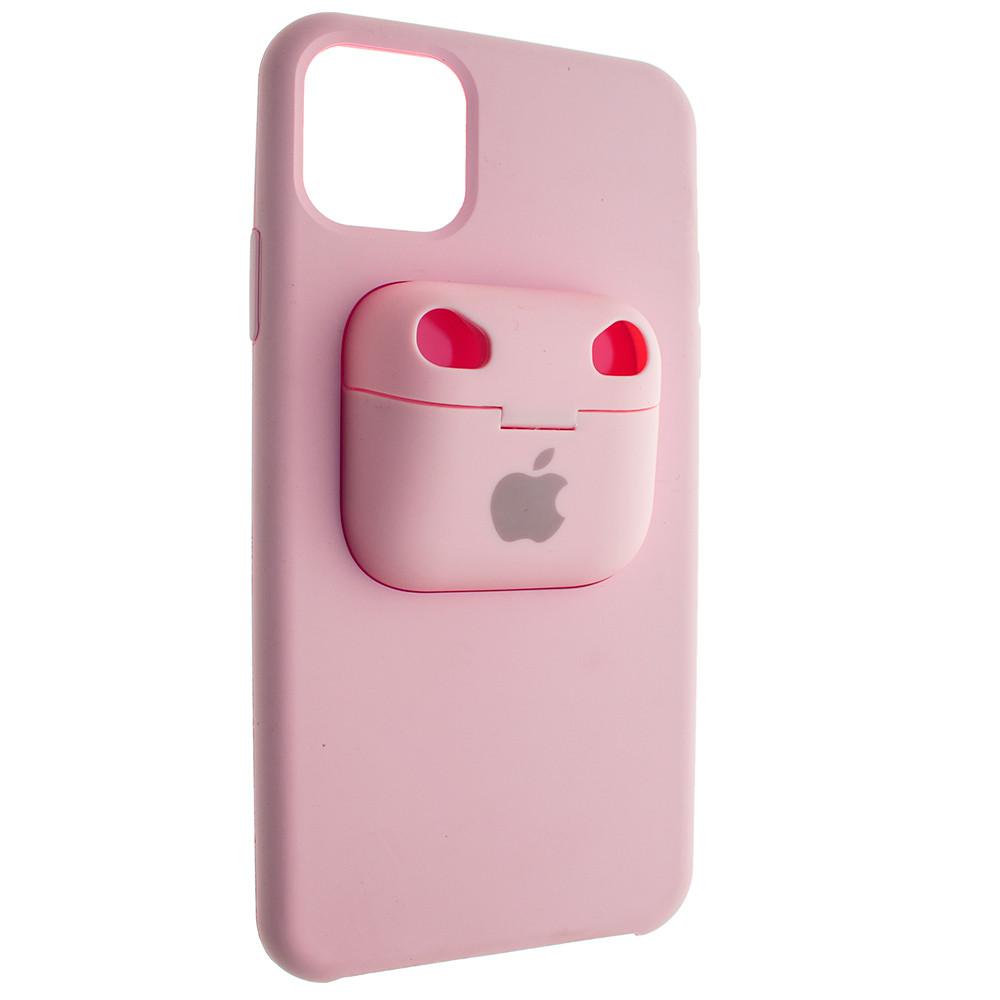 Чехол Silicone Case для Apple iPhone 11 Pro Max с кейсом для наушников AirPods Pro Розовый (00007708)