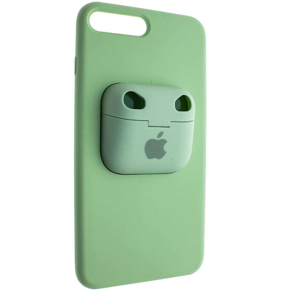 Чохол Silicone Case для Apple iPhone 8 Plus/ iPhone 7 Plus з кейсом для навушників AirPods Pro Зелений
