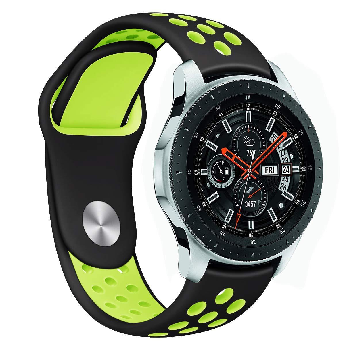 Ремешок BeWatch для Samsung Galaxy Watch 46 mm | 3 45 mm | Gear S3 перфорированный 22мм Черно-Салатовый