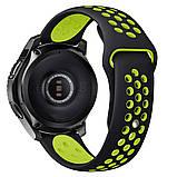 Ремешок BeWatch для Samsung Galaxy Watch 46 mm | 3 45 mm | Gear S3 перфорированный 22мм Черно-Салатовый, фото 2