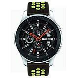 Ремешок BeWatch для Samsung Galaxy Watch 46 mm | 3 45 mm | Gear S3 перфорированный 22мм Черно-Салатовый, фото 3