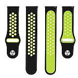 Ремешок BeWatch для Samsung Galaxy Watch 46 mm | 3 45 mm | Gear S3 перфорированный 22мм Черно-Салатовый, фото 4