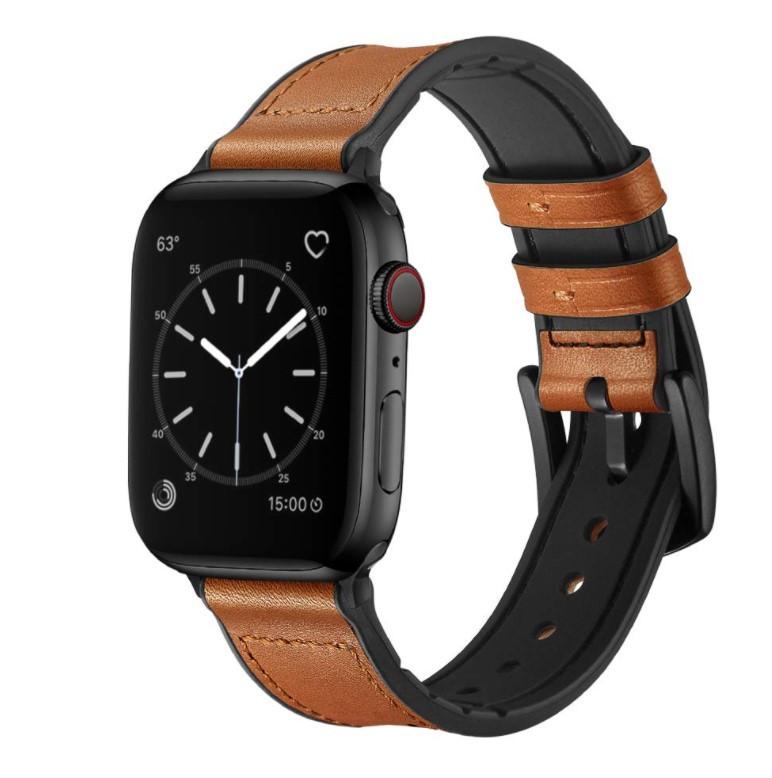 Ремешок BeWatch для Apple Watch series 3 | 4 | 5 | 6 с шириной корпуса 38|40mm Силикон + Кожа Коричневый