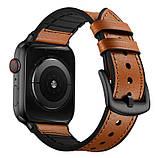 Ремешок BeWatch для Apple Watch series 3 | 4 | 5 | 6 с шириной корпуса 38|40mm Силикон + Кожа Коричневый, фото 2