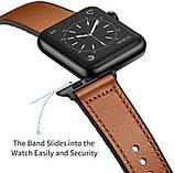 Ремешок BeWatch для Apple Watch series 3 | 4 | 5 | 6 с шириной корпуса 38|40mm Силикон + Кожа Коричневый, фото 3