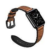 Ремешок BeWatch для Apple Watch series 3 | 4 | 5 | 6 с шириной корпуса 38|40mm Силикон + Кожа Коричневый, фото 5
