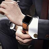 Ремешок BeWatch для Apple Watch series 3 | 4 | 5 | 6 с шириной корпуса 38|40mm Силикон + Кожа Коричневый, фото 6