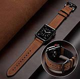 Ремешок BeWatch для Apple Watch series 3 | 4 | 5 | 6 с шириной корпуса 38|40mm Силикон + Кожа Коричневый, фото 7