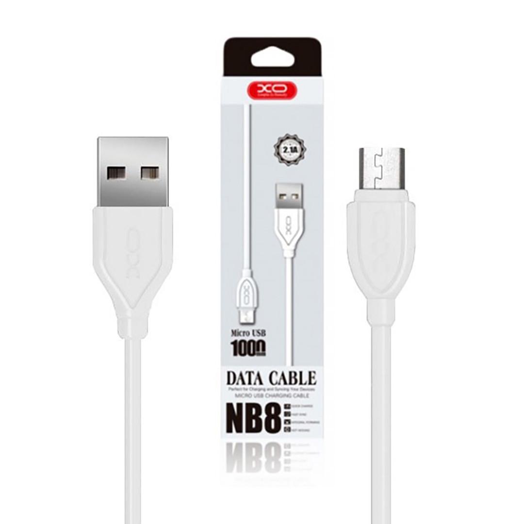 Кабель USB Cable XO NB8 2.1A Quick Charge Micro прорезиненный 1 м White (arbc5818)