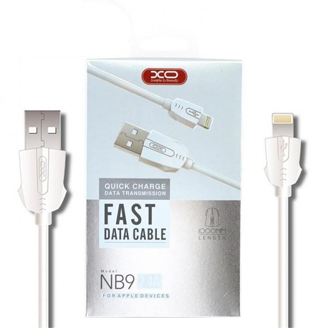 Кабель USB Cable XO NB9 2.4 A Quick Charge Lightning прогумований 1 м White (arbc5821)