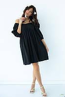 Однотонне плаття з розкльошені низом hot fashion - чорний колір, S (є розміри)