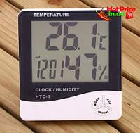 Часы Термометр Гигрометр HTC-1 3в1 (GIPS), Часы настольные, метеостанции