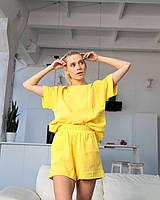 """Пижама женская Муслин жатый """"Rina"""" с шортами и футболкой из натуральной ткани цвет желтый"""