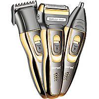 Акумуляторна машинка для стрижки волосся і бороди 3 в 1 тример бритва Gemei GM-595 (GIPS)