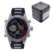 (GIPS), Годинники наручні QUAMER 1702, Box, браслет карбон, dual timeс подарунковою коробкою