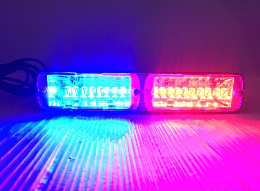 Проблесковый стробоскоп LED на лобовое стекло Biper красно-синий .Проблесковый сигнальный маячок для авто -12V