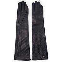 Модные женские перчатки Chanel (кожаные, зимние, черные, на флисе, длинные)