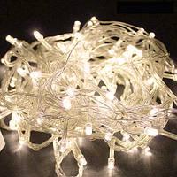 (GIPS), Лед гірлянда на ялинку 15 метрів 500 LED (лампочок) Теплий білий, Білий кабель, гірлянда новорічна