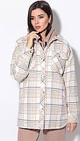 Пальто LeNata-11172 білоруський трикотаж, бежеві в клітку, 48, фото 1