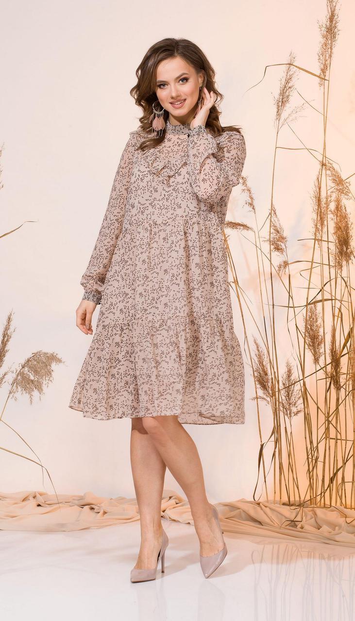 Сукня INPOINT-011 білоруський трикотаж, бежевий, 44