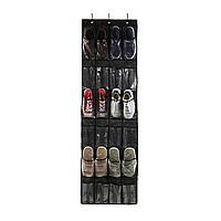 (GIPS), Органайзер для взуття на двері Чорний 148*45 см 24 кишені, органайзер для тапочок   обувной органайзер