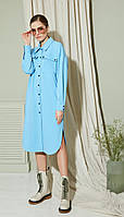 Платье Gizart-7424 белорусский трикотаж, голубой, 44, фото 1